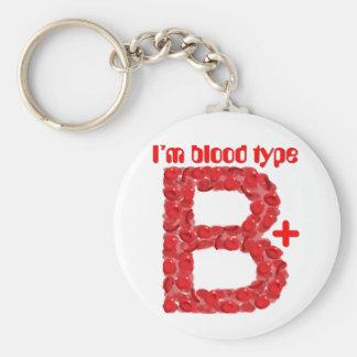 I'm blood type B positive Basic Round Button Key Ring