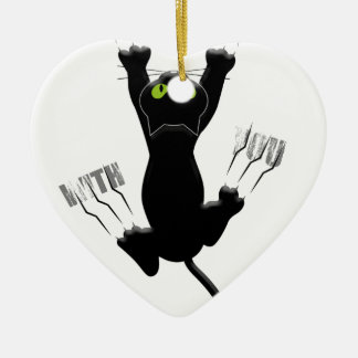 Im Coming With You Cat Kitten Funny Cute Ceramic Heart Decoration