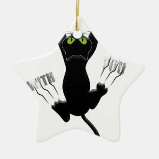 Im Coming With You Cat Kitten Funny Cute Ceramic Star Decoration
