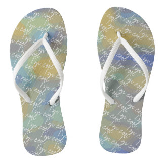 I'm Cool Blue and Gold Abstract Design Flip Flops