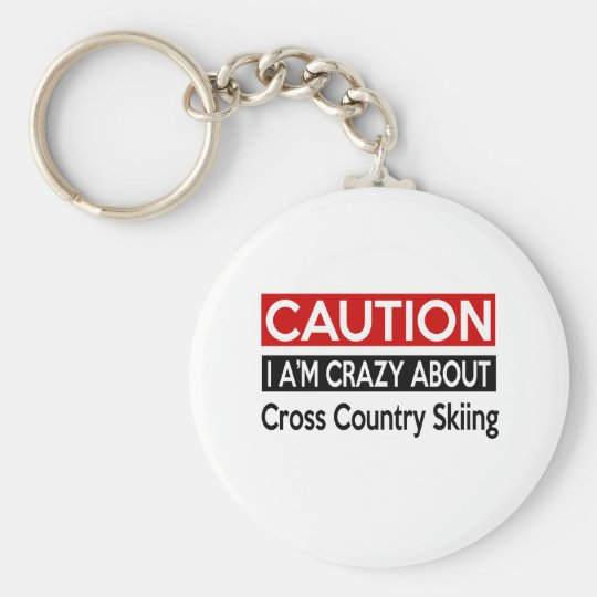 I'M CRAZY ABOUT CROSS COUNTRY SKIING BASIC ROUND BUTTON KEY RING