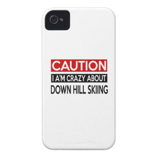 I'M CRAZY ABOUT DOWN HILL SKIING Case-Mate iPhone 4 CASES