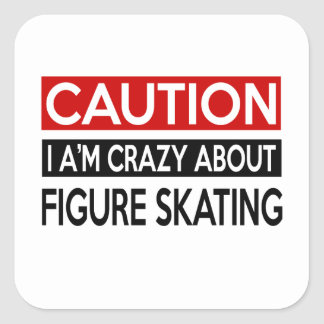 I'M CRAZY ABOUT FIGURE SKATING SQUARE STICKER