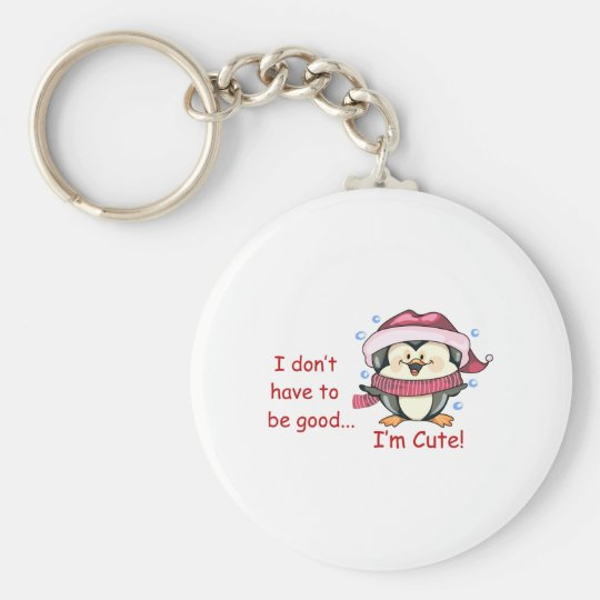 I'M Cute Basic Round Button Key Ring