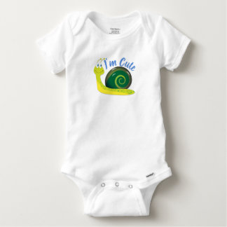 I'm Cute Light Green Snail Baby Onesie