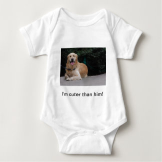 I'm cuter than him! - Golden Retriever Apparel Baby Bodysuit