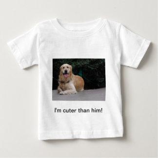 I'm cuter than him! - Golden Retriever Apparel Baby T-Shirt