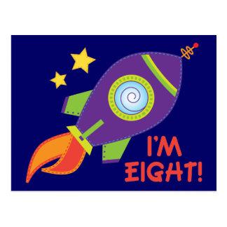 I'm Eight Rocketship Birthday Gift Postcard