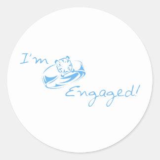 I'm Engaged (Blue Diamond Ring) Round Sticker