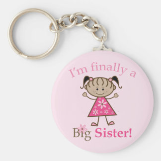 I'm Finally a Big Sister Ethnic Stick Figure Girl Basic Round Button Key Ring