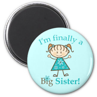 I'm Finally a Big Sister Stick Figure Girl 6 Cm Round Magnet