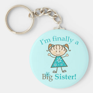 I'm Finally a Big Sister Stick Figure Girl Basic Round Button Key Ring