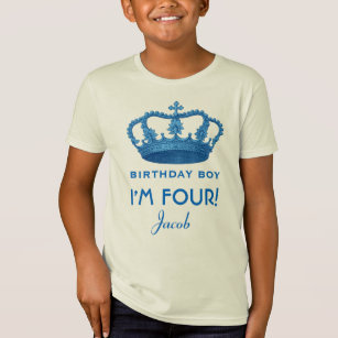 4th Birthday Custom Name Crown Gift Idea T Shirt