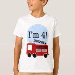 I'm Four Red Fire Truck T-shirt