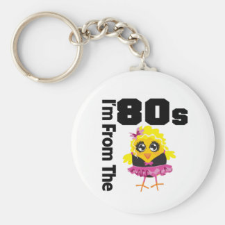 I'm From the 80s Chick Basic Round Button Key Ring
