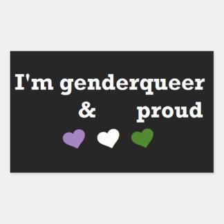 I'm genderqueer & proud rectangular sticker
