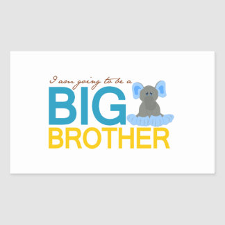 I'm Going to be a Big Brother Elephant Rectangular Stickers