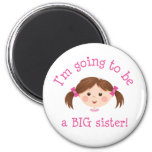Im going to be a big sister - girl with brown hair fridge magnets