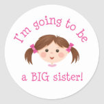 Im going to be a big sister - girl with brown hair stickers