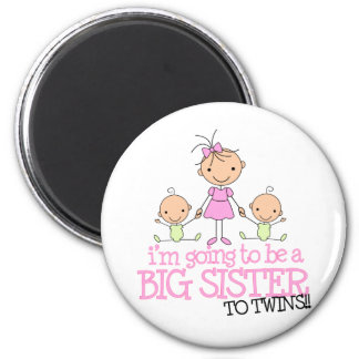 I'm Going to Be a Big Sister to TWINS 6 Cm Round Magnet