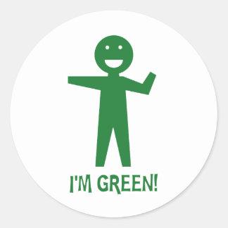 I'm Green Round Sticker