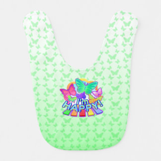 I'm Happy! green Baby Bib