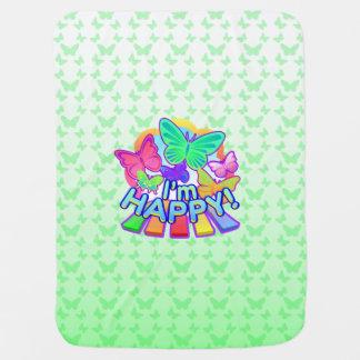 I'm Happy! green baby Blanket