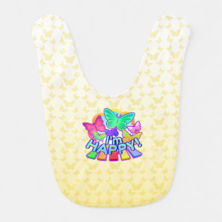 I'm Happy! yellow Baby Bib