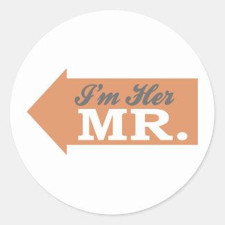 I'm Her Mr. (Orange Arrow) Round Stickers
