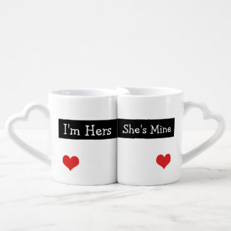 I'm Hers She's Mine Newly Wed Heart Wedding Coffee Mug Set