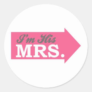 I'm His Mrs. (Hot Pink Arrow) Sticker