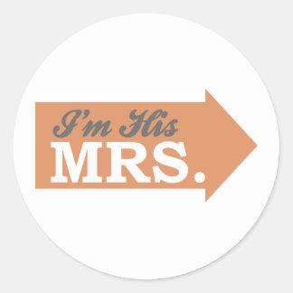 I'm His Mrs. (Orange Arrow) Sticker