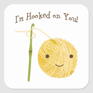 I'm Hooked on You! Square Sticker