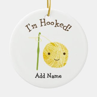I'm Hooked Round Ceramic Decoration