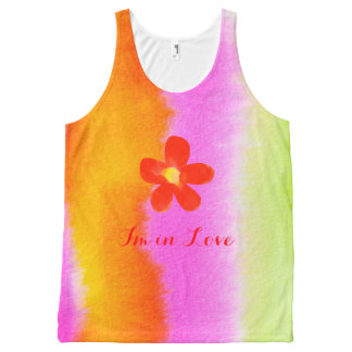 I'm in Love Red Flower All-Over Printed Tank
