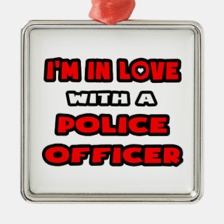 I'm In Love With A Police Officer Silver-Colored Square Decoration