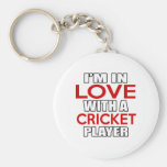 I'm in love with CRICKET Player Basic Round Button Key Ring