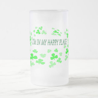 I'M IN MY HAPPPY PLACE FROSTED GLASS BEER MUG