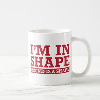 I'm in Shape, Round is a Shape - Red Basic White Mug