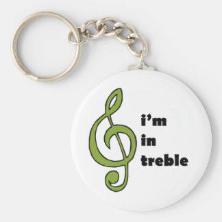 I'm in Treble Basic Round Button Key Ring