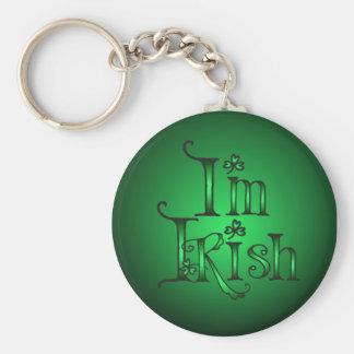 I'M IRISH SHAMROCKS by SHARON SHARPE Basic Round Button Key Ring