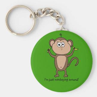 I'm just monkeying around! basic round button key ring