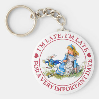 I'M LATE, I'M LATE, FOR A VERY IMPORTANT DATE KEY RING