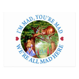 I'M MAD, YOU'RE MAD, WE'RE ALL MAD HERE POST CARD