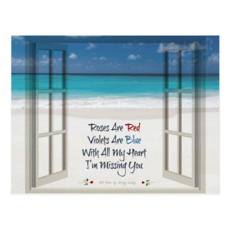 I'm Missing You Poem: Beach and Open Window Post Card