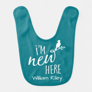 """I'm New Here"" / Bird on Branch - Choose own color Baby Bib"