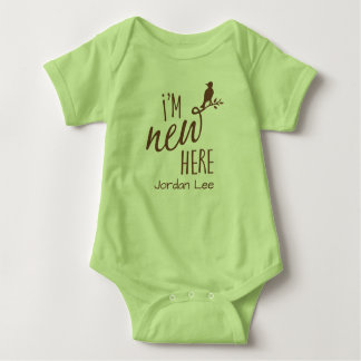 """I'm New Here"" / Bird on Branch - Choose own color Baby Bodysuit"