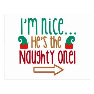 Im Nice Hes Naughty Elf Hat Postcard