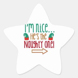 Im Nice Hes Naughty Elf Hat Star Sticker