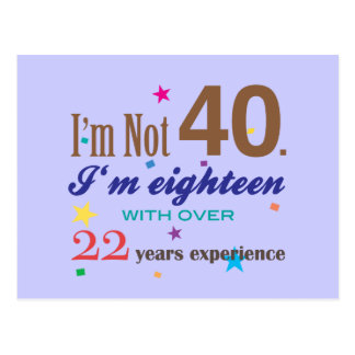 I'm Not 40 - Funny Birthday Gift Postcard